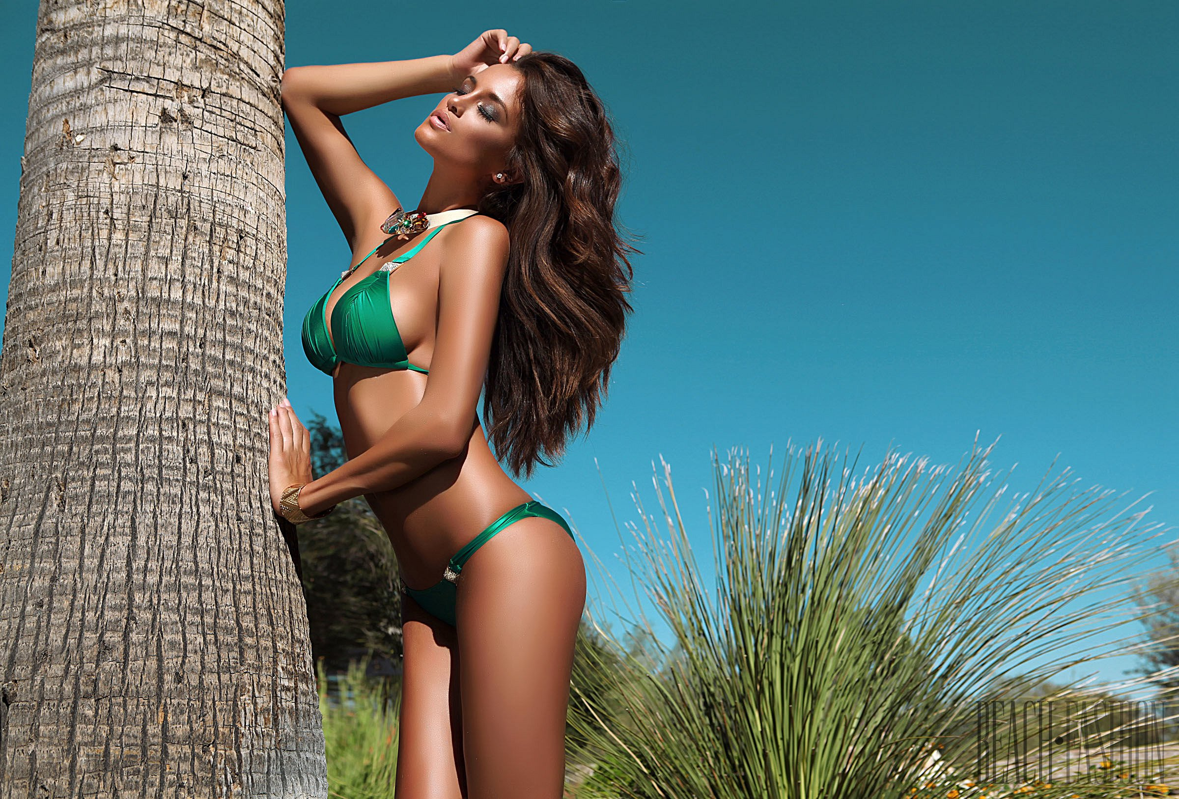 Green bikini model